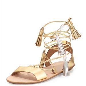 Loeffler Randall Sz 7 Gold Gladiator Sandals
